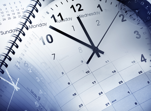 Clock faces, calendars and diary
